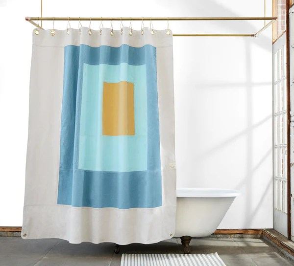 Marfa Clay  Quilted Canvas Shower Curtain  Quiet Town