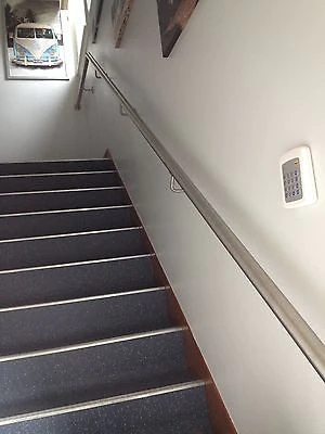 Stainless Steel Handrail With Flat Ends – Simplehandrails Co Uk   Flat Handrail For Stairs   Code Compliant   Stainless Steel Flat Bar   Type 2   Top   Flat Iron