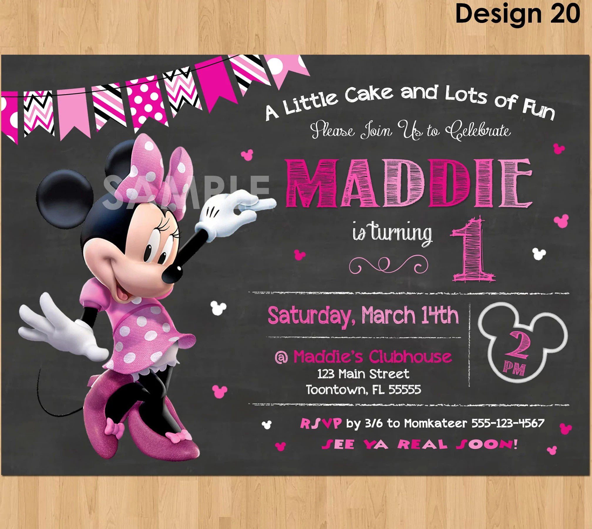 minnie mouse birthday invitation minnie mouse invitation 1st birthday first bday girl pink minnie mouse chalkboard invite party printable