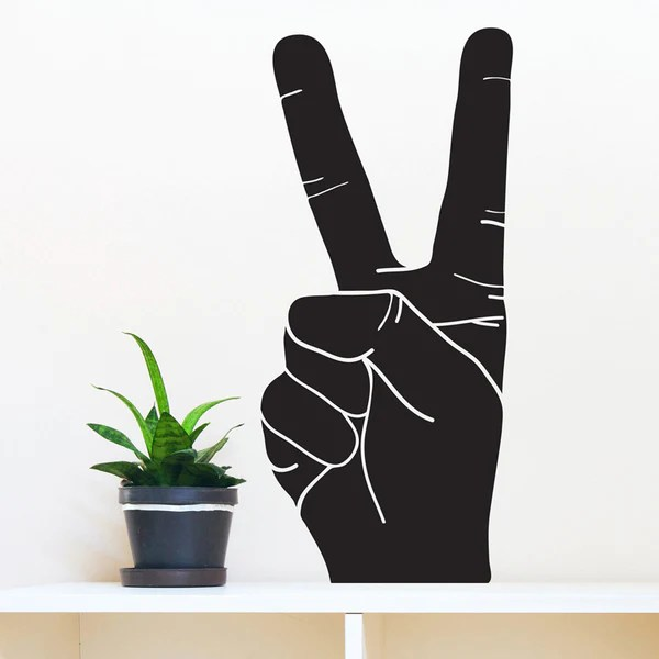 Peace Hand Sign Silhouette Wall Decal Shop Decals at