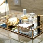 Putwo Tray Mirror Gold Mirror Tray Perfume Tray Mirror Vanity Tray Dr