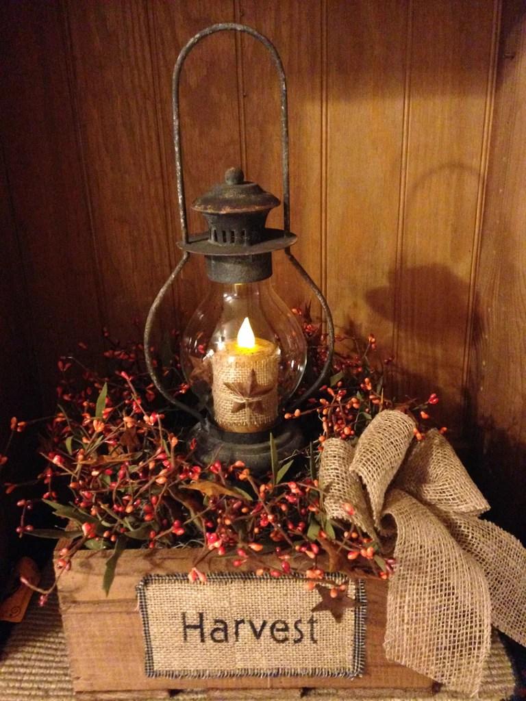 Primitive Harvest Box Lantern Arrangement  The Drying Shed