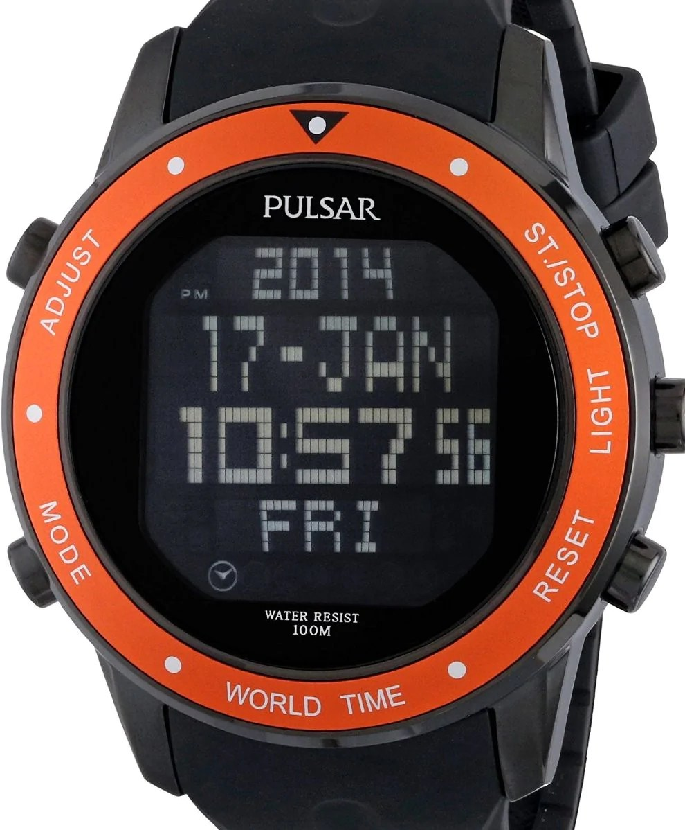 Men' Watches - Authentic Pulsar World Time Digital Chronograph Oversized Mens Watch Listed
