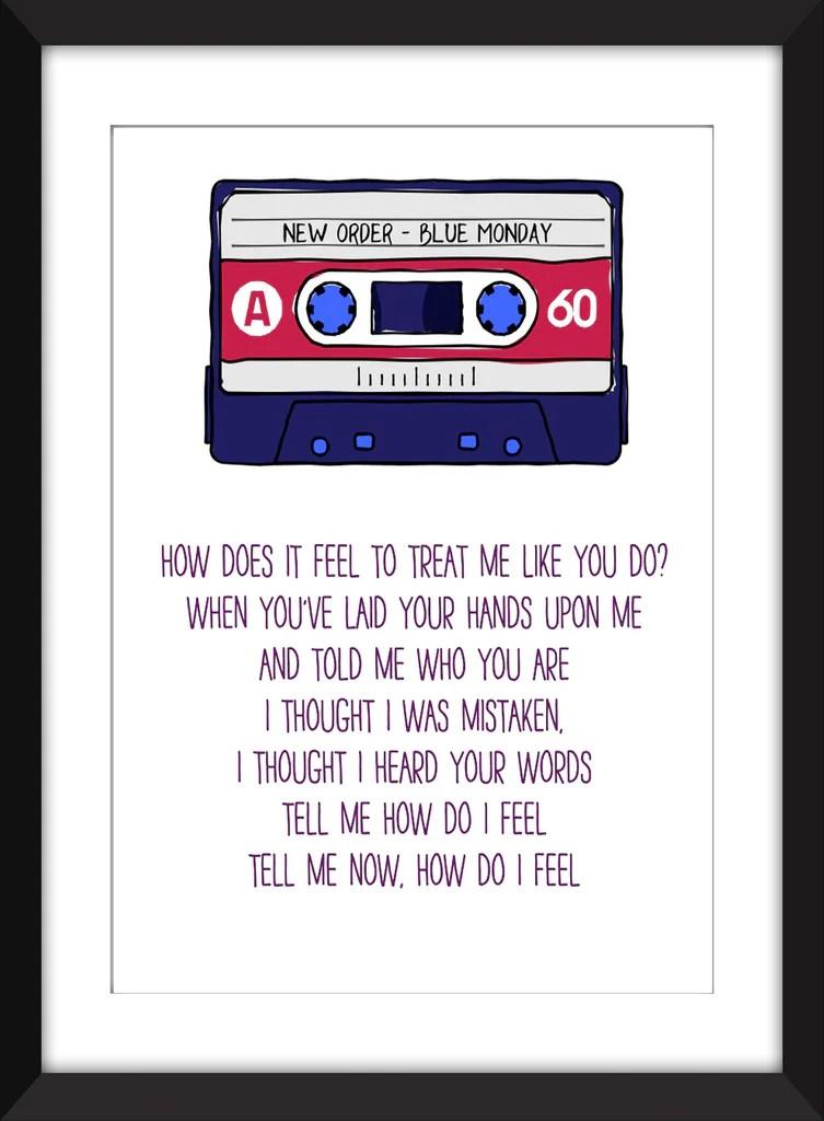 New Order Blue Monday Lyrics - Unframed Print – The Word Association