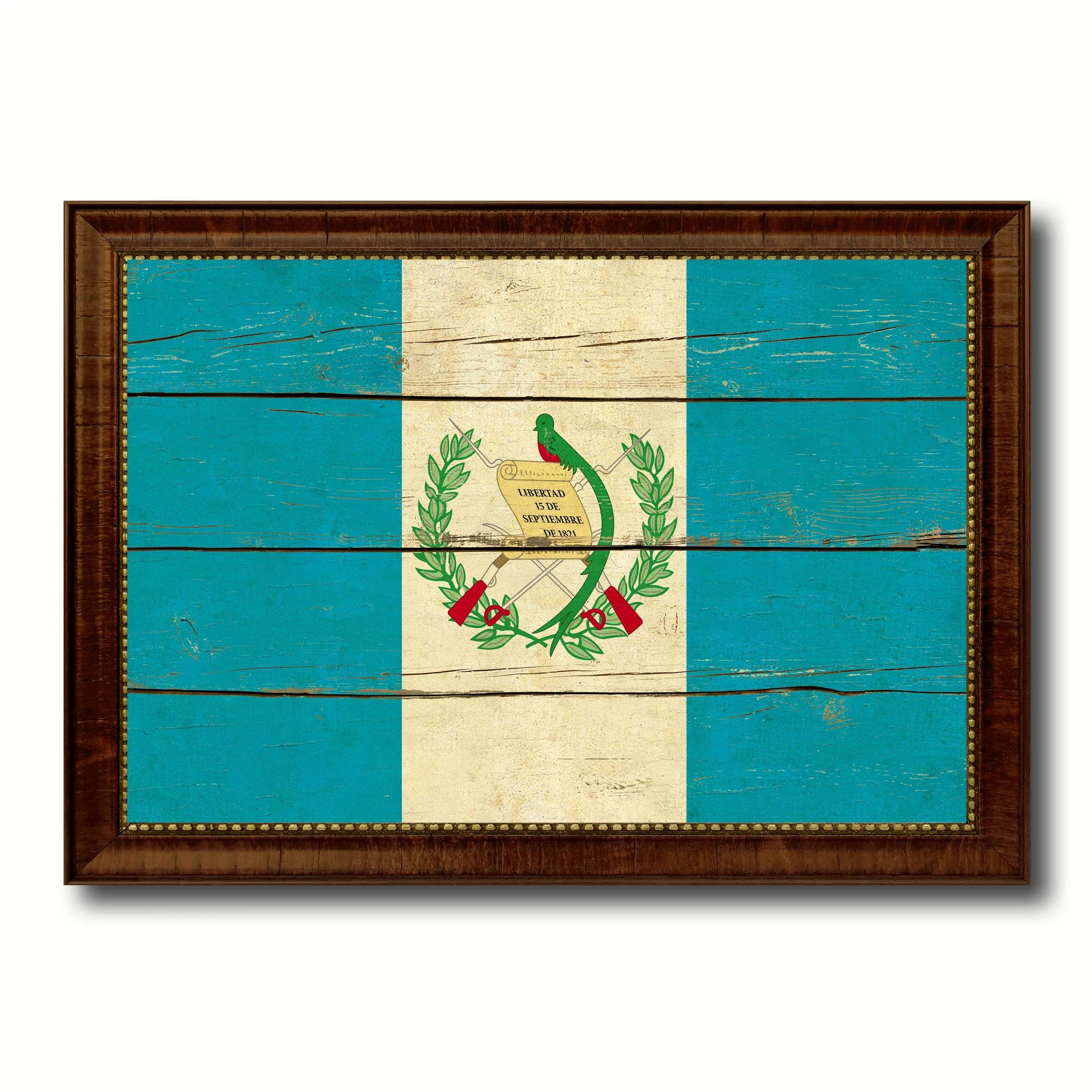 Guatemala Country Flag Vintage Canvas Print With Brown Picture Frame Home Decor Gifts Wall Art Decoration Artwork