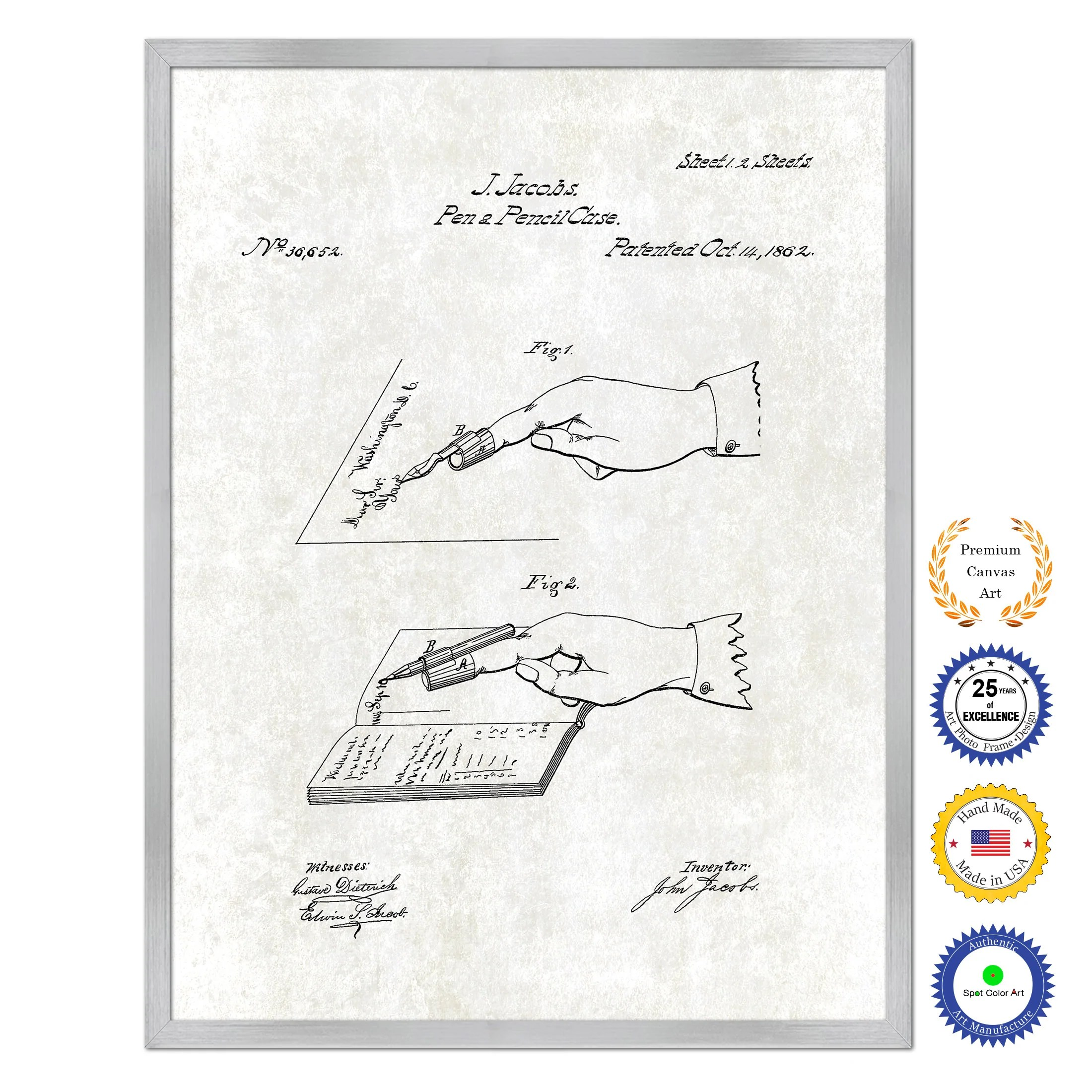 1862 pen and pencil case vintage patent artwork silverframed canvas print home office decor wall art spotcolorart [ 2200 x 2200 Pixel ]