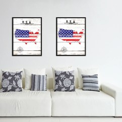 Living Room Art Decor Decorating Wall With Pictures Usa Home Office Decoration Bedroom Livingroom Gift Vintage American Flag United States Of America Canvas Print Picture Frames