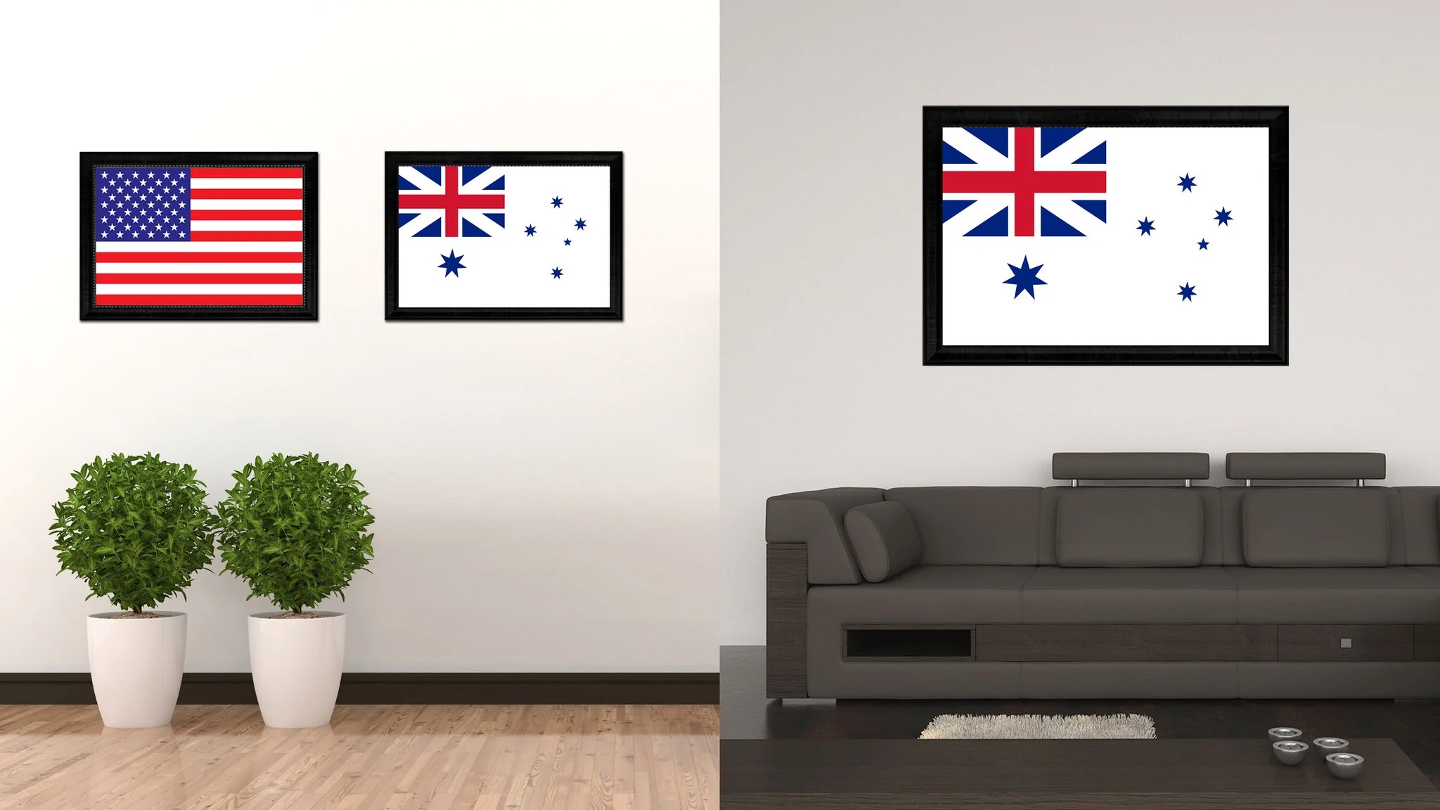 wall prints for living room australia with white sofa australian ensign city country flag home decor canvas print black picture frame