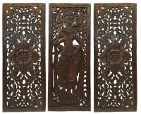 Multi Panels Oriental Home Decor. Wood Carved Floral Wall