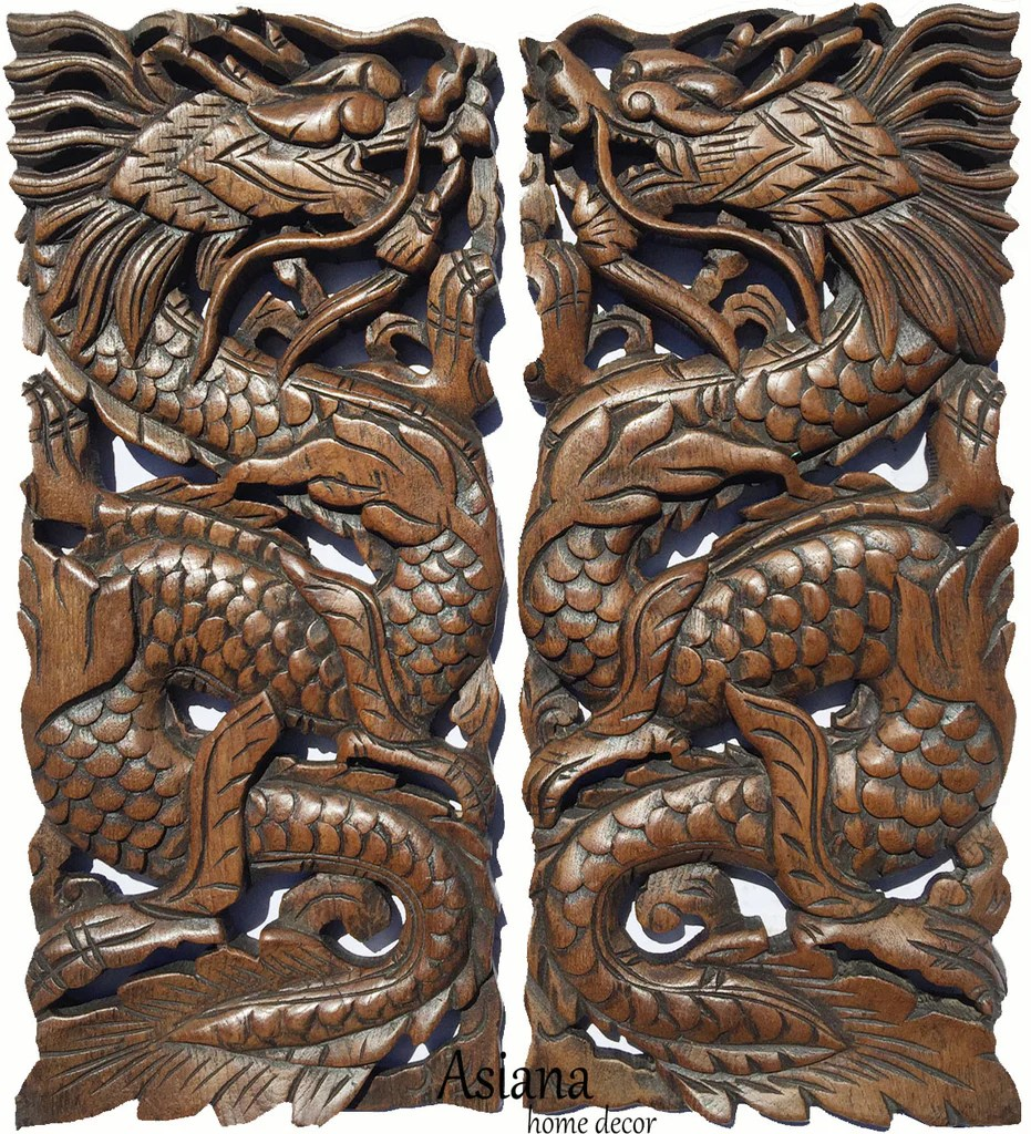 Chinese Dragon Carved Wood Wall Art Decor Panels. Asian