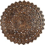 Elegant Wood Carved Wall Plaque Floral Wood Wall Panels Asiana Home Decor