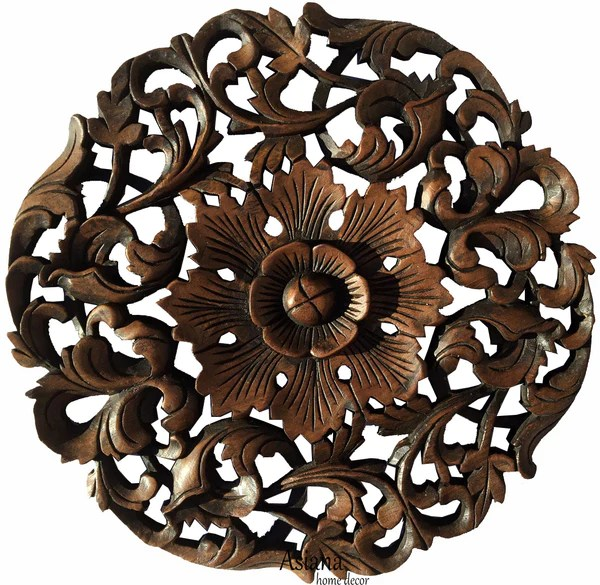 Wall Decor Oriental Carved Wood Round Plaque On Sale