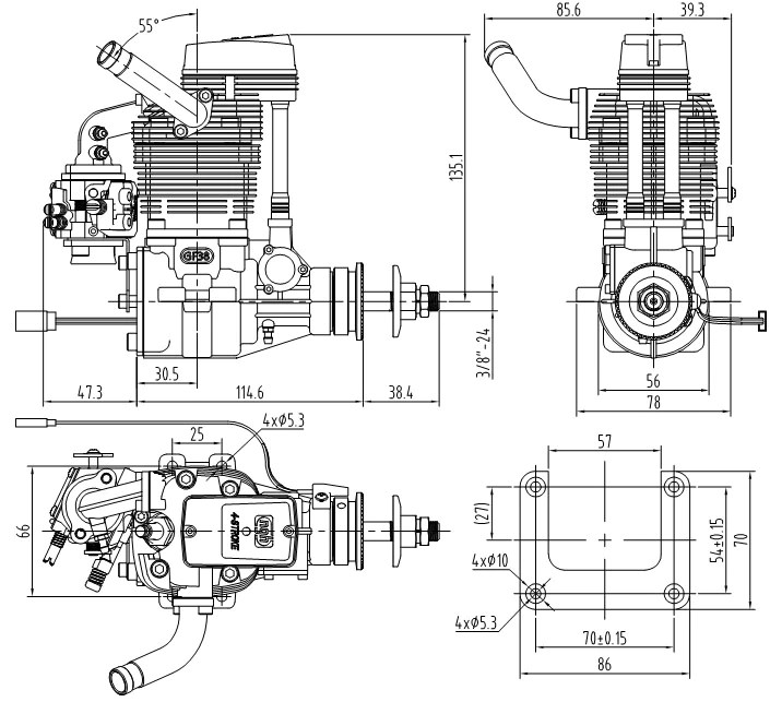 NGH GF38 38cc Four-Stroke Engine NGH-GF38