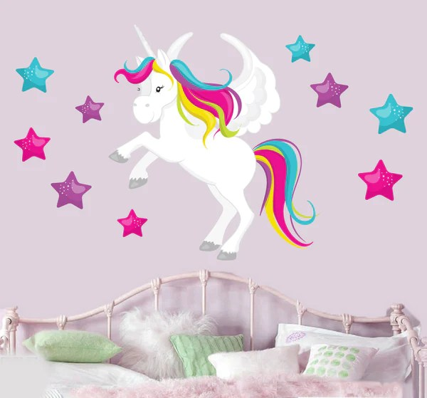 Magical Unicorn  Stars Mural Wall Stickers  Childrens Bedroom Nurse  Stickers On Your Wall