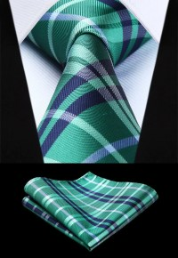 Green Plaid Tie and Pocket Square - Sophgent