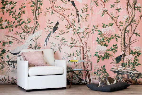 Pastel Pink Wallpaper For Walls Magnolia Mural Chinoiserie Garden Wallpaper Decor Anewall Anewall