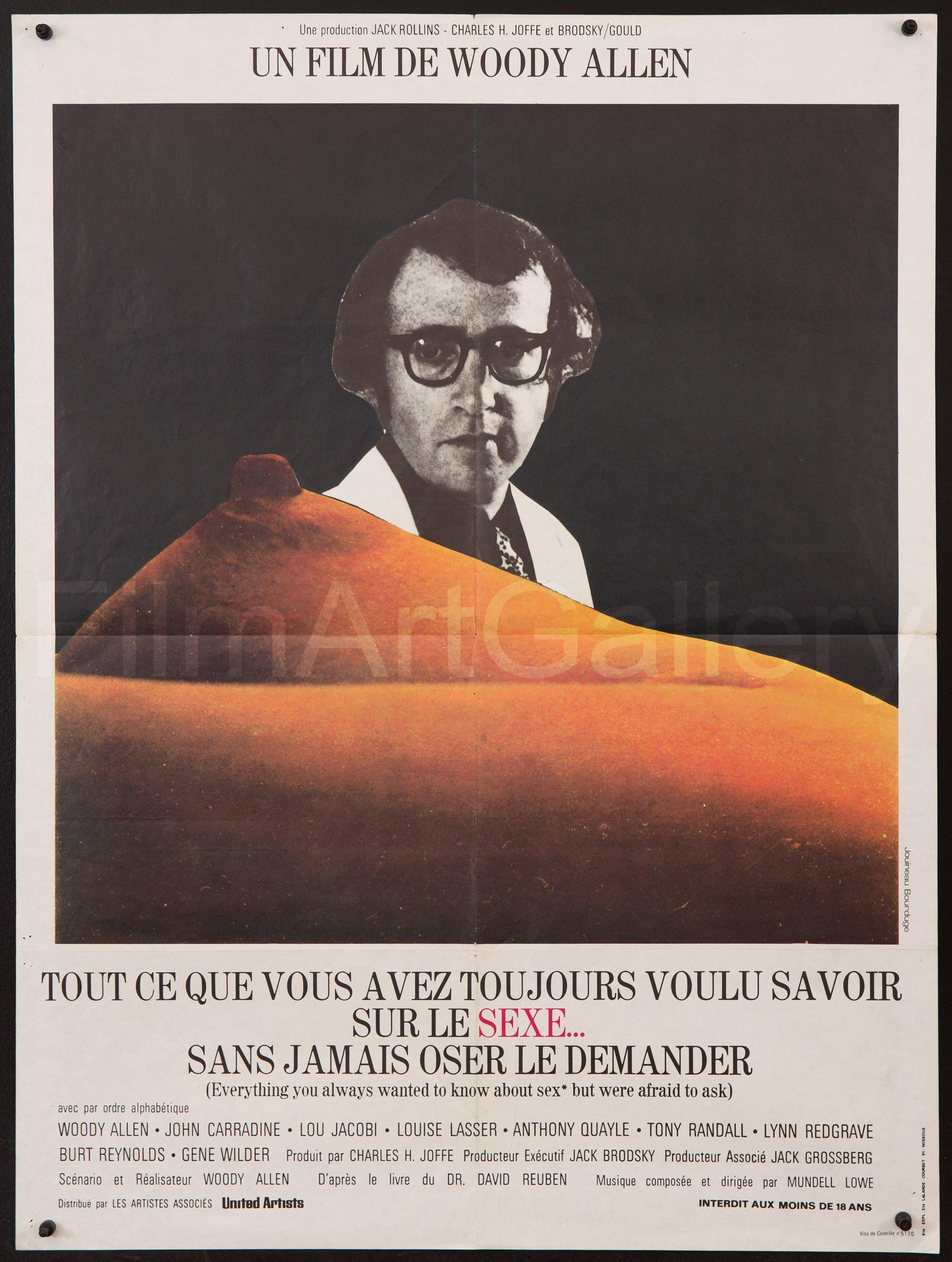 Tout Savoir Sur Le Sexe : savoir, Everything, Always, Wanted, About, Sex.., Movie, Poster, French, Small, (23x32), Original, Vintage