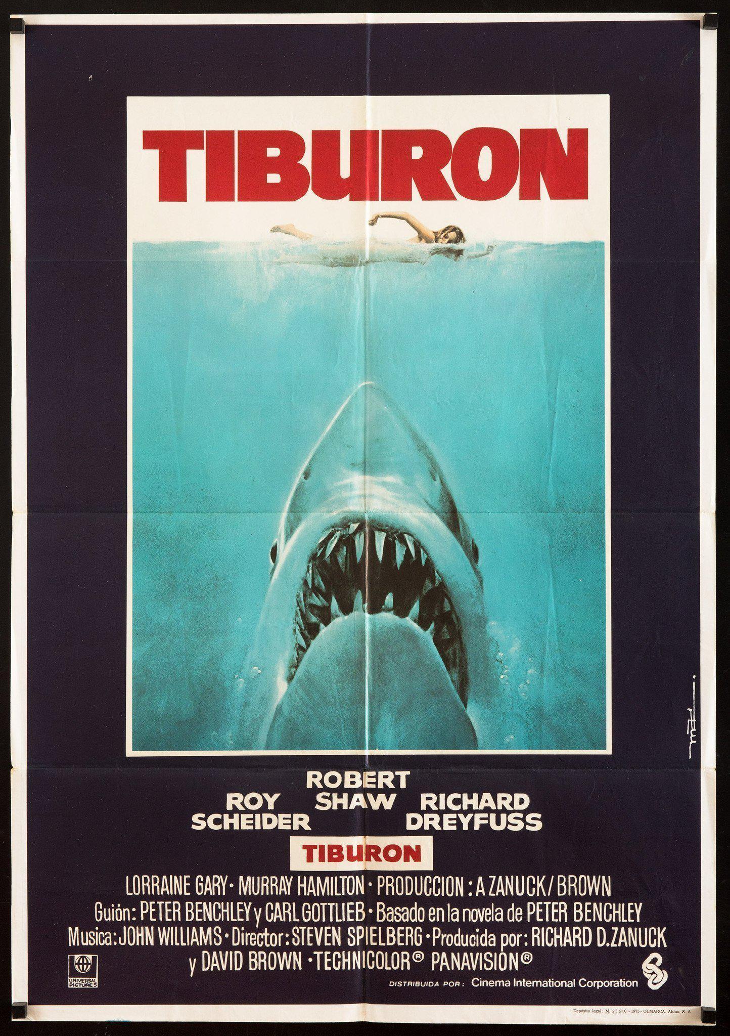 jaws tiburon movie poster 1 sheet 27x41 original vintage movie poster 6715