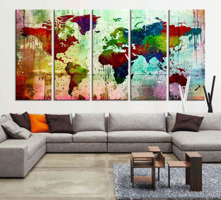 Canvas Art Print Watercolor World Map Large Wall Art Print Extra Extra Large Wall Art Canvas Print