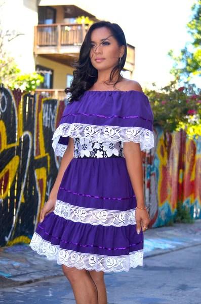 Purple Mexican Off Shoulder Mini Dress Crochet Lace Trim