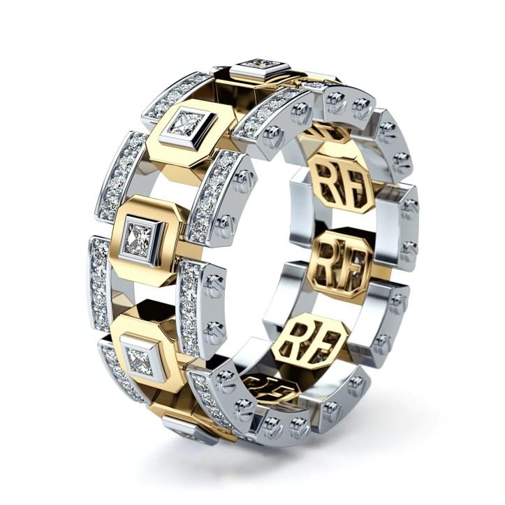 LA PAZ Mens Two-Tone Gold Wedding Band with Diamonds