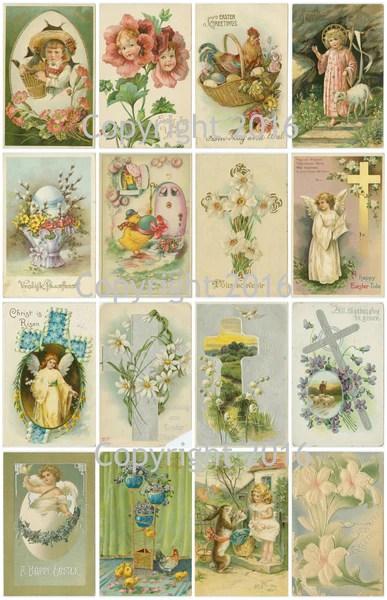 Vintage Easter Cards Printed Collage Sheet 102 Paper