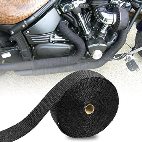 exhaust wrap 2 x 50 ft exhaust heat wrap tape header glassfiber wrap kit for automotive motorcycle with 8 stainless ties black