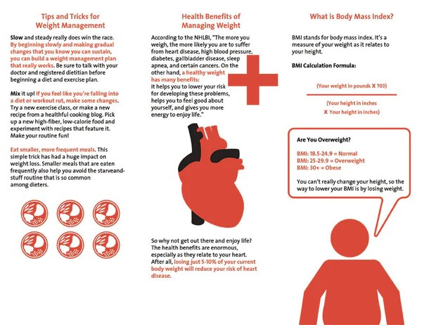 Heart Health Brochure BMI And Weight Management