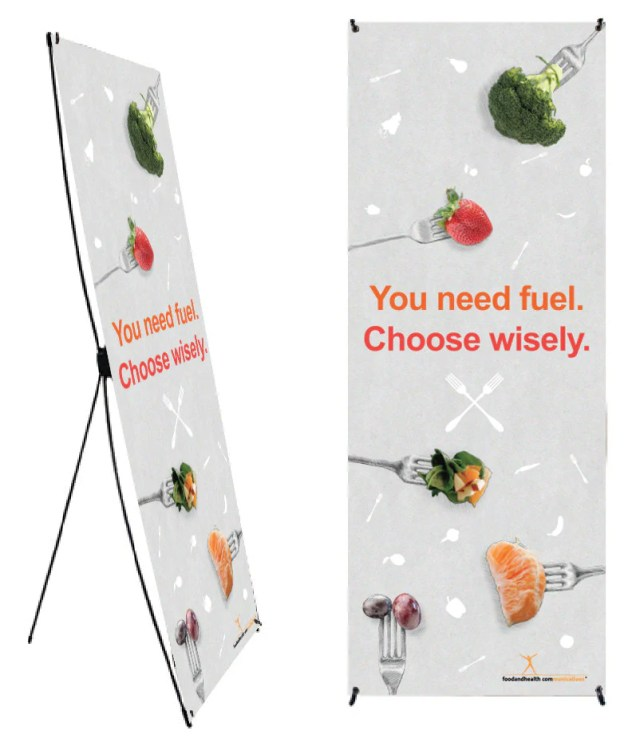 Choose Wisely Fruits and Vegetables on Forks Banner and Stand 24