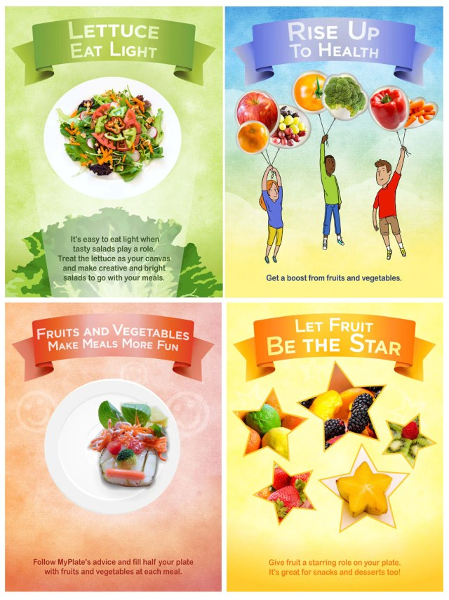 4 Poster Set Fruits and Vegetables Total Display 24X36 - Nutrition Education Store