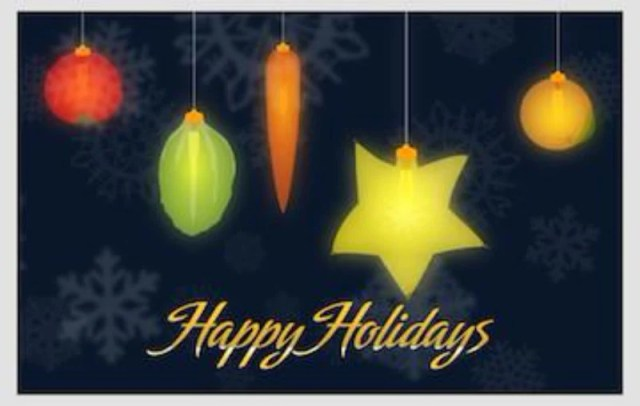 Holiday Fruit and Veggie Lights Cards Pack of 10