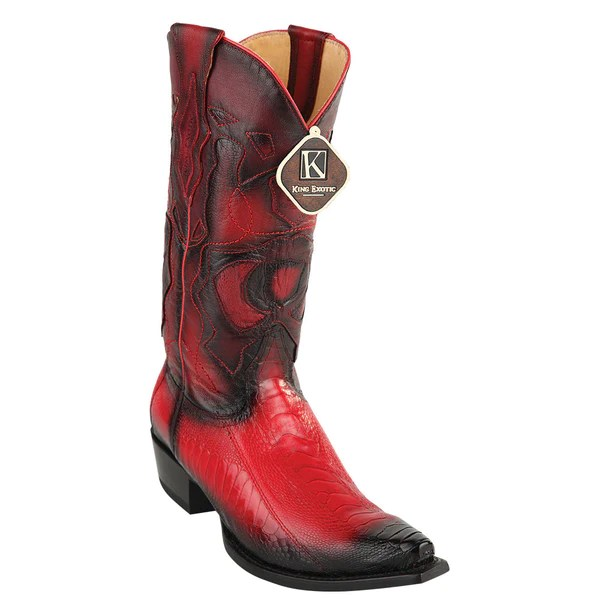 King Exotic Mens Western Ostrich Leg Snip Toe Boots