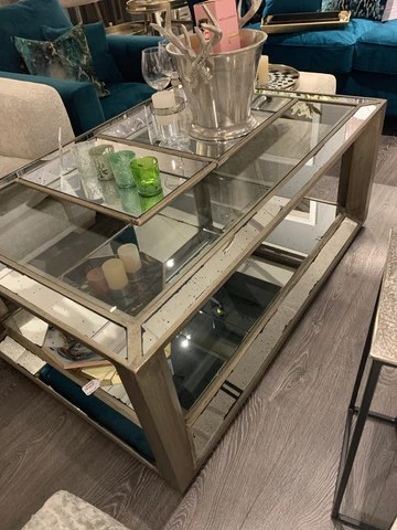 freya large mirrored coffee table with aged glass and hand painted