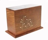 Wooden Casket with Brass Design  UrnsWithLove