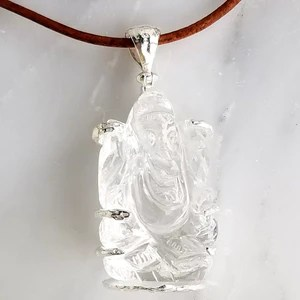quartz crystal ganesh pendant