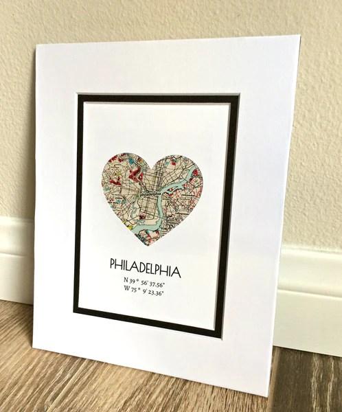 Personalized Map Art Gift For Girlfriend Or Boyfriend