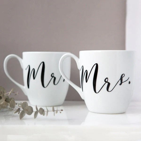 Mr and Mrs Mug Set  Foxblossom Co