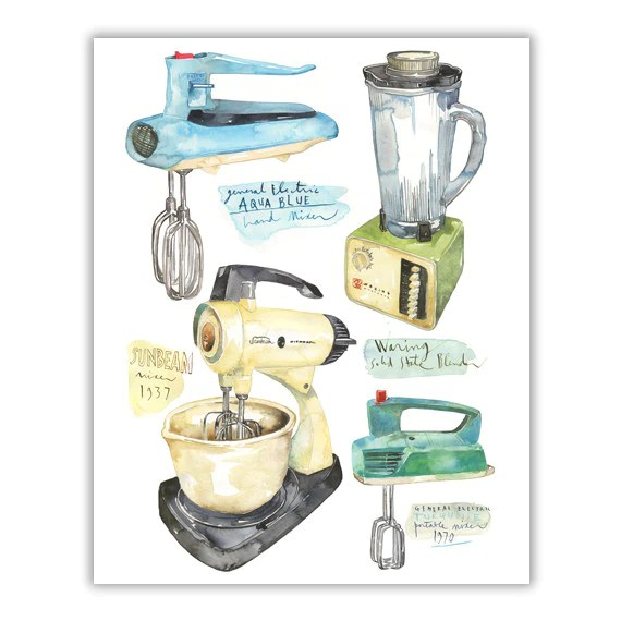 kitchen mixer organizing vintage and blender watercolor illustration