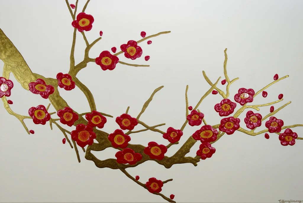 red cherry blossoms 36x24