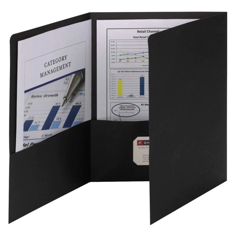 Smead Tri-fold Pocket Folders Letter Size Black 20