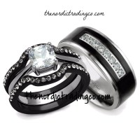 His & Hers Engagement & Wedding Ring Set Black / Silver ...