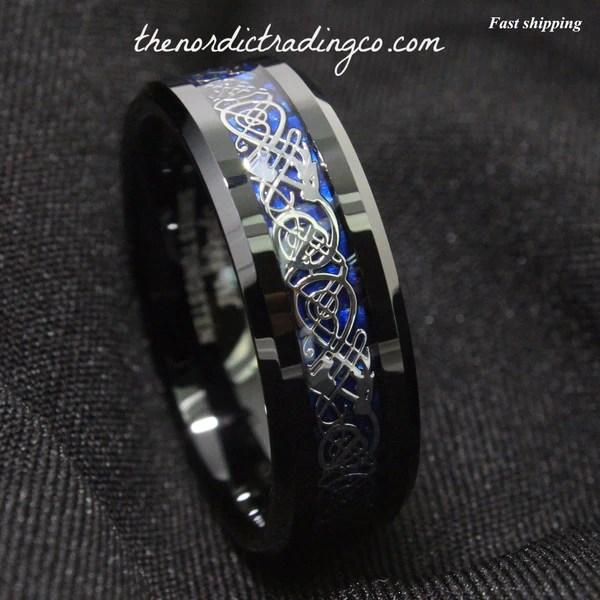 sz 6  13 New Dramatic Black Dragon Tungsten Deep Blue Ring  thenordictradingcocom