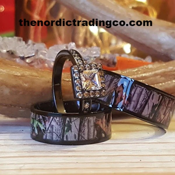 His Amp Hers Camo Engagement Wedding Ring Set 2 Black