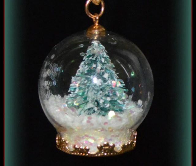 Teenie Tiny Christmas Tree Snow Globe Necklace Handmade  Tall Womens Jewelry Gifts Accessories