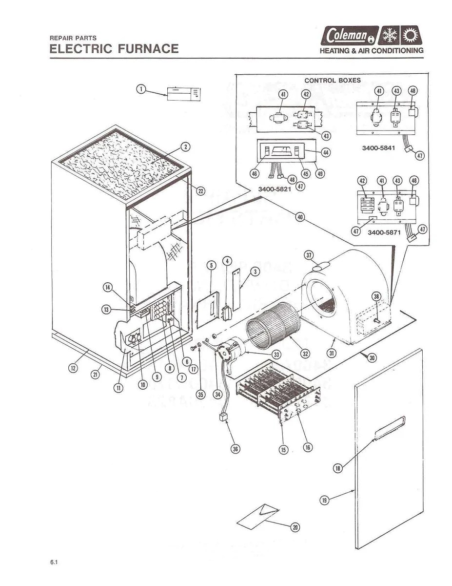 small resolution of 3400a816 coleman electric furnace parts hvacpartstore coleman trailer wiring diagram 2003 coleman 3400 series wiring diagram