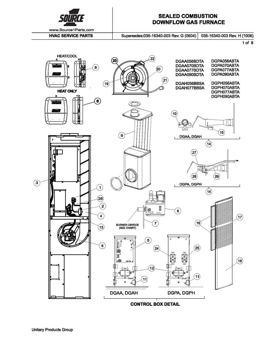 110 Switch To Schematic Wiring Diagram Dgaa070bdta Coleman Gas Furnace Parts Hvacpartstore