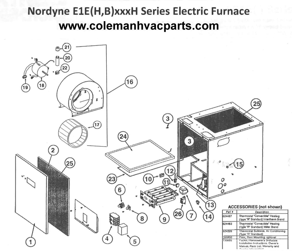 medium resolution of e1eh015h nordyne electric furnace parts u2013 hvacpartstoremiller central air conditioner wiring diagram 17