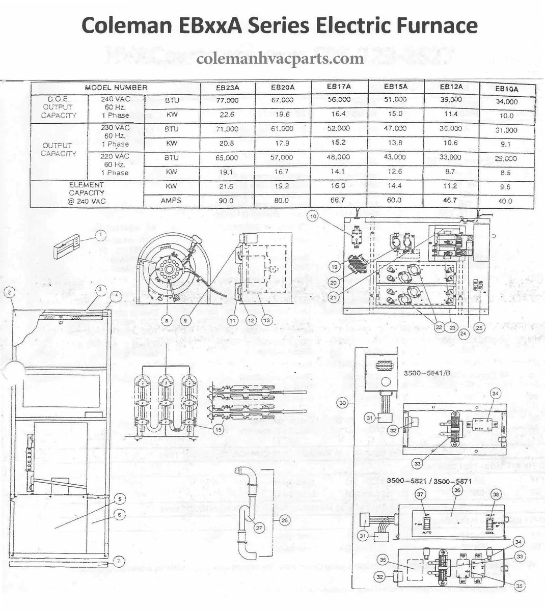 Kw Trailer Wiring Diagram Eb15a Coleman Electric Furnace Parts Hvacpartstore