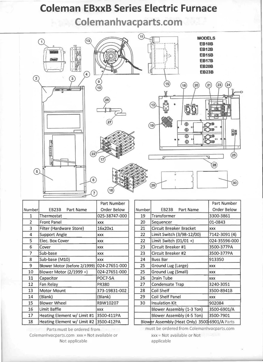 eb23b coleman electric furnace parts hvacpartstore need a wiring digram for a evcon coleman furance model eb23b [ 1199 x 912 Pixel ]