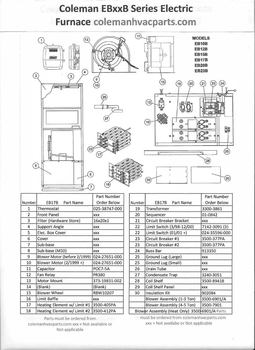 Ac Furnace Blower Motor Wiring Diagram Eb17b Coleman Electric Furnace Parts Hvacpartstore